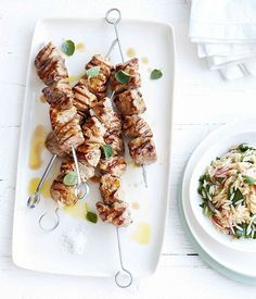 Australian Gourmet Traveller recipe for grilled pork neck and oregano skewers with orzo salad.