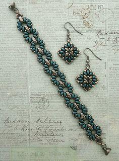 Linda's Crafty Inspirations: Corundum Earrings & Claudia Bracelet - Steel Blue & Graphite