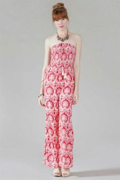 #salediem #jumpsuits #rompers #springcothes  Flying Tomato   PRINTED JUMPSUIT W/ FRONT TASSEL DETAIL & SMOCKING DETAIL