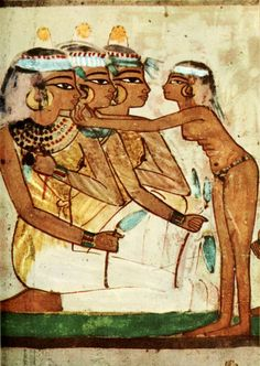 Ancient - Egyptian Wall Paintings 1956, Tomb of Nakht - Banqueting scene 2. #egypt