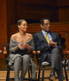 Rihanna at Harvard University to accept the Humanitarian of The Year Award. (Feb. 28)