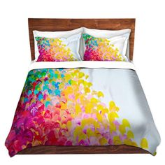 RAINBOW Fine Art Rainbow Duvet Covers Queen Twin Fine Art Decor by EbiEmporium Colorful Creation in Color Pretty Modern Chic Multicolor Abstract Acrylic Painting Red Pink Aqua Turquoise Blue Green Yellow White Brushstrokes Bold Feminine Ocean Splash Waves Home Decor Ombre Bedroom Bedding #colorful #abstract #fineart #decor #homedecor #duvet #bedding #bedroom #whimsical #dorm #modern #girly