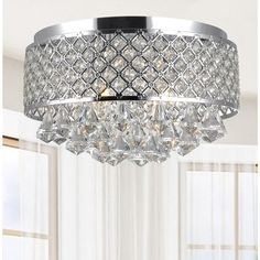 Candice 4-light Chrome and Crystal Flush Mount Chandelier - 16628818 - Overstock - Big Discounts on The Lighting Store Flush Mounts - Mobile