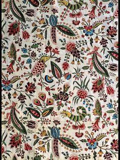 les coquecigrues,coton imprimé à la planche de bois  1790-1800.              musée de la toile de Jouy