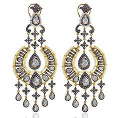 11.15ct Pearl Diamond 14kt Gold 925 Sterling Silver Chandelier Earrings Jewelry  | eBay
