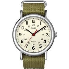 @Overstock - A cream dial hosts large easy-to-view numbers in this casual watch from Timex. A silvertone brass case and olive nylon strap make for stylish and comfortable wear of this everyday watch.http://www.overstock.com/Jewelry-Watches/Timex-Mens-Weekender-Olive-Slip-through-Strap-Watch/6095342/product.html?CID=214117 $27.48