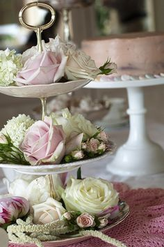flowers on cakestands