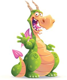 Illustration of a laughing dotted green dragon with horns and pink. Dragon Vert, Green Dragon, Dragon City, Cartoon Dragon, Cartoon Art, Hand Crafts For Kids, Dinosaur Images, Cute Dragons, Happy Paintings