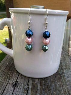 Tricolor beaded earrings on Etsy, $12.00