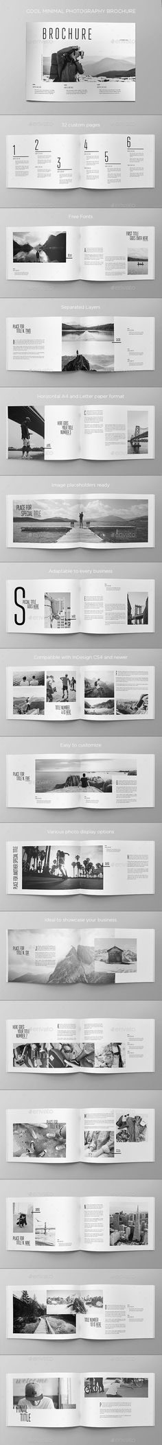 Cool Minimal Photography Brochure Template InDesign INDD - 32 Custom Pages Booklet Design, Book Design Layout, Print Layout, Book Cover Design, Design Design, Brochure Indesign, Brochure Template, Brochure Format, Adobe Indesign