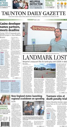 The front page of the Taunton Daily Gazette for Tuesday, May 5, 2015.
