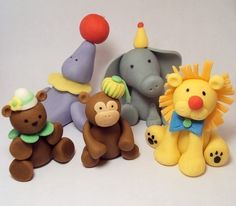Circus Animals Set of 5 Cupcake or Cake Toppers by SweetTouchDecor, $20.00