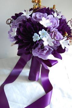 Custom paper flower wedding bouquet