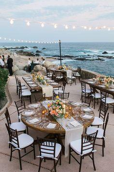 sunset beach wedding reception in Cabo