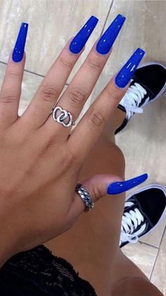Fabulous nails, please view these superb, smart pattern info number 6513315028 asap. Bright Summer Acrylic Nails, Blue Acrylic Nails, Acrylic Nail Designs, Aycrlic Nails, Bling Nails, Nail Swag, Nagel Bling, Blue Coffin Nails, Fire Nails