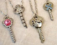 Old Keys; add jewels, costume jewelry, rhinestones, earrings, brooch or any repair pieces you have with glue and add to a chain for a nice one of a kind necklace, anklet or bracelet  Recycle those unused keys!