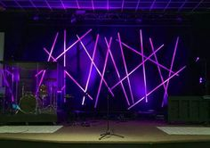"""My latest stage design was created using 10"""" sections of PVC. I've been told when we use the green LED's it looks like light sabers."""
