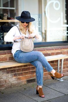 Style Basics: The Denim Jean & Cotton Shirt, mediamarmalade, fashion blogger, girl boss, autumn style, mom jeans, suede boots, white shirt, chloe hayley
