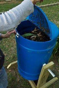here is how to make your own Tumbler for Composting you can also use this to make your own Sea Glass and other projects too   DIY Spinning Composter Vertical Standing http://www.potholesandpantyhose.com/2011/10/diy-spinning-composter/