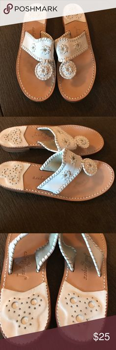 Jack Rogers sandals Jack Rogers white leather sandals in good condition with light wear on insole and sole from use Jack Rogers Shoes Sandals