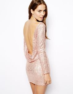 Club L Sequin Dress or Tunic Top with Drape Back