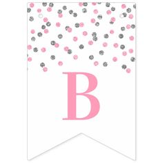 Shop Bridal Shower Banner Pink Silver Confetti created by DreamingMindCards. Bridal Shower Flowers, Bridal Shower Signs, Flag Design, Print Design, Egg Card, Sign Lighting, Bunting Banner, Vintage Flowers, Invitation Cards