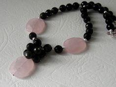 Rose Quartz  And Obsidian Necklace Gemstone by UrbanDaisyDesign, £22.95