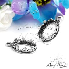 1pcs 925 Sterling Silver Crown Bezel Pendant Setting for by AoryNL