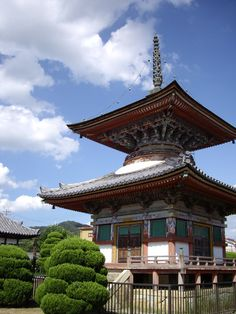 Taho-to (jeweled pagoda) of Sagami-ji temple, Kasai city, Japan. Builted in 1662, painted in 1728.