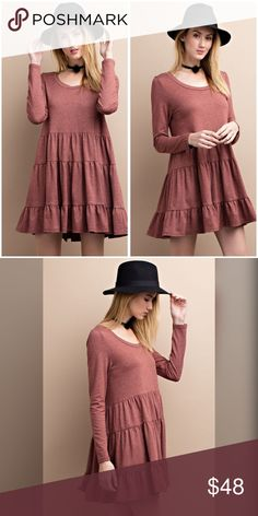 So soft French Terry tunic/dress in brick💋 THIS SUPER COMFY PULLOVER IS THE PERFECT THROW - ON, LONG SLEEVE FRENCH TERRY RUFFLE BOTTOM DRESS Dresses