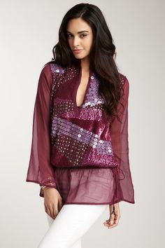 Opal by Monique Leshman - Purple Patchwork Sequin Tunic