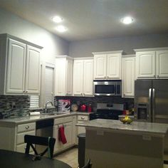Grey Kitchen, white cabinets! But with dark granite counter tops!!!!!