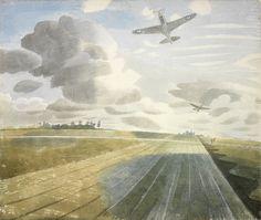 Runway Perspective Eric Ravilious Date: 1942 Style: Magic Realism Magic Realism, English Artists, Thing 1, East Sussex, Landscape Paintings, Landscape Watercolour, Landscapes, Landscape Art, Ciel
