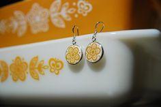 Pyrex Corelle Butterfly Gold Earrings by KitchenKel on Etsy, $25.00