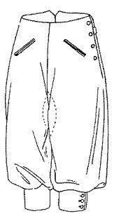 Knickerbockers: Appearing after 1850's. This trousers were cut with a loose leg then buckled just below the knee. Came from the practice of wearing fitted knee breeches for sports such as riding and hunting