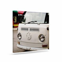 "Angie Turner ""VW Bus"" White Vintage Canvas Art"