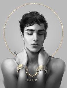 7 sins: Greed Art Print by jwitless_art - X-Small Character Inspiration, Character Art, Character Design, Fantasy Art Angels, Fantasy Demon, Drawing Feelings, Angels Beauty, 7 Sins, Ange Demon