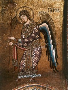 Archangel Gabriel from century Byzantine Mosaic on Cupola of the Martorana Church in Palermo Byzantine Icons, Byzantine Art, Byzantine Mosaics, Early Christian, Christian Art, Religious Icons, Religious Art, Arte Latina, Medieval Art