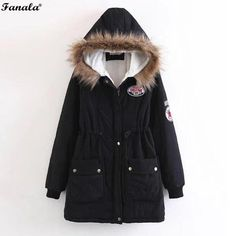 671a920dea38 Parka Faux Fur Hooded Thick Long Sleeve Zipper Drawstring Women s Jacket