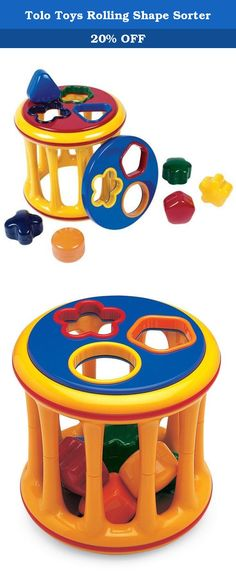 Tolo Toys Rolling Shape Sorter. Each side of this drum-shaped roller has colorful cutouts that match the included plastic shapes, making this toy ideal for color and shape matching. The six shapes each have a unique rattle sound and store conveniently inside the roller. They make a pleasant rattling sound as the sorter is rolled along the floor by toddlers, simultaneously developing strength and agility. This brightly-colored Rolling Shape Sorter will entertain youngsters while…