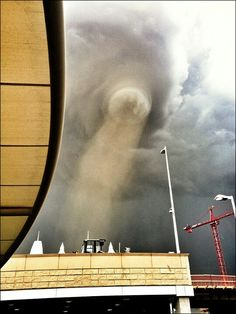 Tornado @ Denver International Airport.  This one scares me because I'm not sure I'd realize what I was looking at?