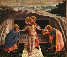 "FRA ANGELICO - ""Sepultamento"" (Pietá) 1438-40, têmpera sobre papel, 38x46 cm Alte Pinakothek, Munique."
