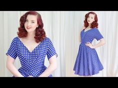 Making a 1950's Dress / Blue Dotted Dress - YouTube