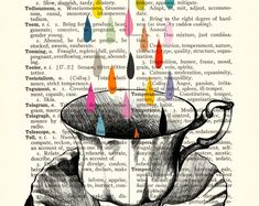 TEACUP RAIN vintage book print - my original artwork of a vintage teacup drawing on upcycled vintage book page - archival digital print. $20.00, via Etsy.