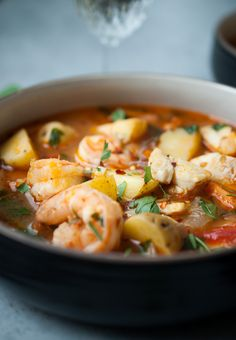 Seafood and Potato Stew. A good and healthy seafood stew made with halibut, shrimp and potatoes. So creamy and flavorful, they paired so well with the tomato base and chunky seafood A hearty and healthy seafood stew made with halibut, shrimp and potatoes. Seafood Stew, Seafood Dishes, Seafood Recipes, Gourmet Recipes, Soup Recipes, Cooking Recipes, Healthy Recipes, Recipies, Bread Recipes