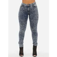 High Waist Acid Wash Skinny Jeans (€18) ❤ liked on Polyvore featuring jeans, pants, skinny fit jeans, skinny leg jeans, acid wash jeans, high-waisted skinny jeans and acid wash skinny jeans