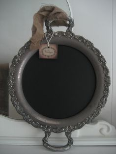 silver plated tray made into chalkboard to write bar menu on. Need an easel to prop it up. maybe from Hobby Lobby Silver Platters, Silver Trays, Painted Trays, Painted Metal, Metal Trays, Art Nouveau, Shabby, Metallic Paint, My New Room
