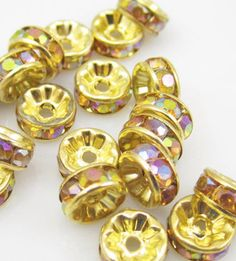 8MM Plated gold crystal spacer beads measures: 8 mm  quantity: 10 beads    glass crystal beads faceted cut