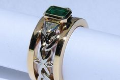 Celtic Perfected @ Creole Jewellery Design.   Emerald and Diamond Celtic Ring