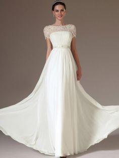 A-line Bateau Short Sleeve Chiffon Prom Dresses/Evening Dresses #QA797